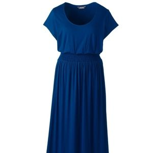 Women's Lands' End Cap Sleeve Maxi Dress Blue NWT